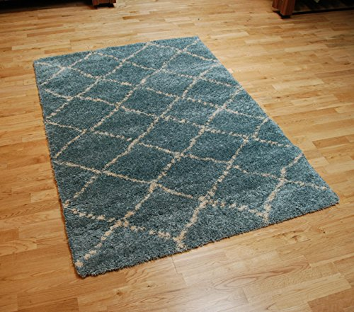 Royal Nomadic Two Tone Diamond Design Rug Soft Shaggy Pile Home Decor Mat 160cm x 230cm (Teal)