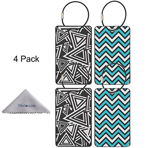 Etichetta bagagli, Wisdompro® Confezione Da 4PVC bagagli Tag con filo metallico anello per viaggio Identifier Etichetta e valigia Triangle+Ripple