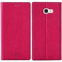Samsung Galaxy A5 2017 Handyhülle, Feitenn dünne Premium PU Leder Flip Handy Schutzhülle | TPU-Stoßstange, Magnetverschluss, Kartenschlitz und Standfunktion Brieftasche Etui (Rot)