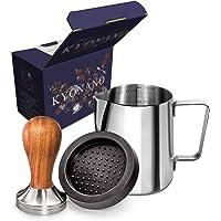 KYONANO Espresso Tamper 58mm Kaffee Tamper aus Hochwertigem Edelstahl und Echtholzgriff - Barista Tamper inkl. Tampermatte, Milchkännchen [350ml] - Zubehör Für Kaffeemaschine Siebträger