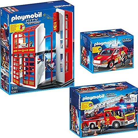 PLAYMOBIL® City Action corps de pompiers set en 3 (trois) parties 5361 5362 5364 corps de pompiers quartier général + Camion de pompiers + Voiture des capitaine des