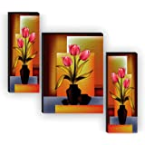 1ArtofCreation SANF-JMS59 UV Textured MDF Board Home Decorative Flowers Design Painting (Multicolour, 18 Inch X 12 Inch ) - S