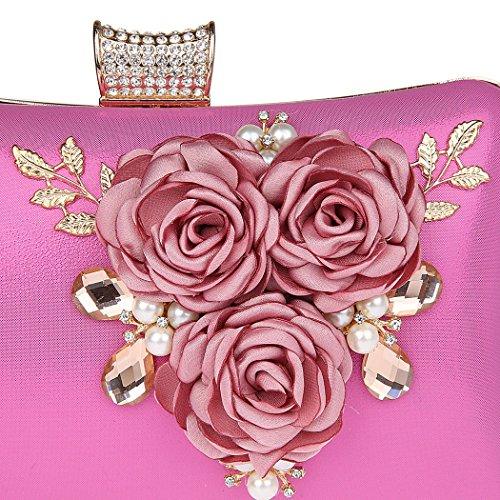 AnKoee Borsa Aristocratica del Vestito da Sera Della Signora Pacchetto di Disegno Fiore (Rosso) Rosa