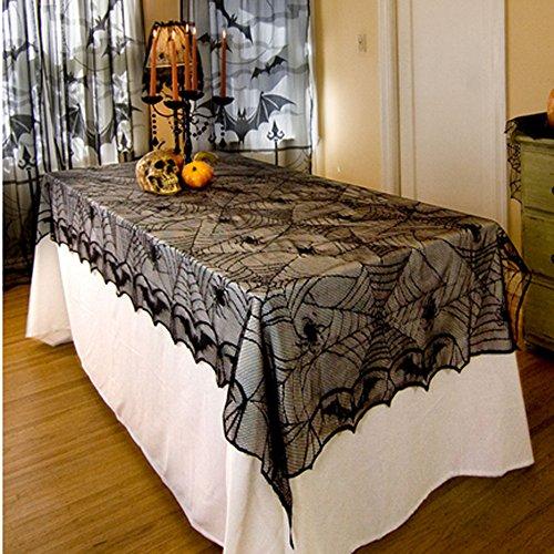 Big-Mountain Tischdecke, Halloween, Spiderweb Black Lace Bat Spinne Party Tisch Dekor, Vorhang Kamin Tuch Fenster (Schwarz)