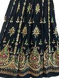 Atemberaubende Damen Indische Boho Hippie Zigeuner Sequin Sommer Sommerkleid Maxi Rock M L (BLACK2)