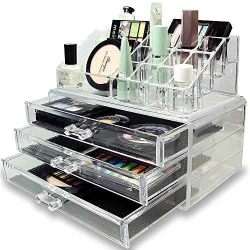 Diswa High Quality Acrylic Jewelry & Cosmetic Storage Display Boxes Two Pieces Set