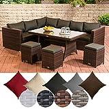 CLP Gartengarnitur Sorano | Sitzgruppe mit 8 Sitzplätzen | Gartenmöbel-Set aus Polyrattan | In verschiedenen Farben erhältlich Bezugfarbe: Anthrazit, Rattanfarbe: Braun-meliert