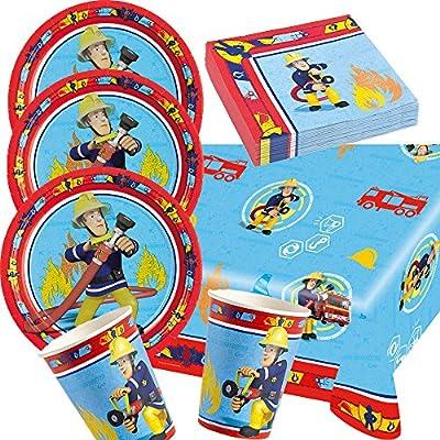 37-teiliges Party-Set Feuerwehrmann Sam - Teller Becher Servietten Tischdecke für 8 Kinder by Amscan