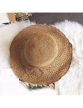 LVLIDAN Sombrero para el sol del verano Dama SolAnti-Sol Playa pescador coffeecolor sombrero de paja plegable