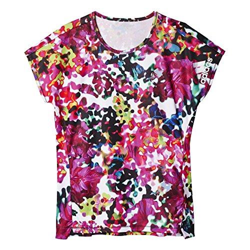 adidas Mädchen T-Shirt YG T Q2 Tee, Grau/Schwarz/Weiß, 164, 4055343507682