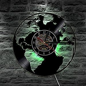 Lyy Mundo Mapa Led Silueta Iluminar Desde El Fondo Moderno Ligero Vinilo Reloj 7 Color Cambio Decoración Art Lámpara Remoto Controlar