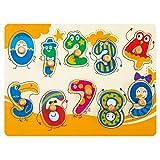 ROBOTIME Wooden Peg Puzzle - Siehe In-Side Numbers (10 Stück) - Lern-und Lernspielzeug für 1, 2, 3 Jahre alt und Up - Classic Brettspiel für Kleinkinder