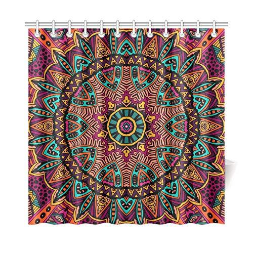 JOCHUAN Home Decor Bad Vorhang Abstrakte Tribal Vintage Ethnische Blumenmuster Polyester Stoff Wasserdicht Duschvorhang Für Badezimmer, 72 X 72 Zoll Duschvorhänge Haken Enthalten -