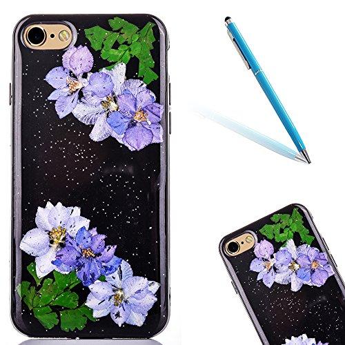 "iPhone 6sPlus Handyhülle, CLTPY iPhone 6Plus Transparent Klare 3D Motiv Fall, [Ultra Hybrid] Echte Getrocknete Blumen Series Etui, Dünne Stoßfest Gummi Case für 5.5"" Apple iPhone 6Plus/6sPlus (Nicht i Floral 9"