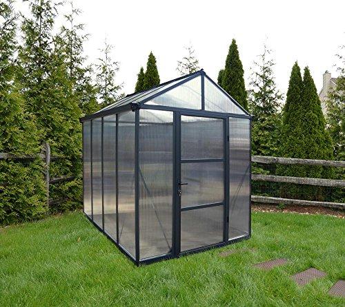 Palram Aluminium Gewächshaus Gartenhaus Glory 6x8 anthrazit // 195x244x268 cm (LxBxH); Treibhaus &...