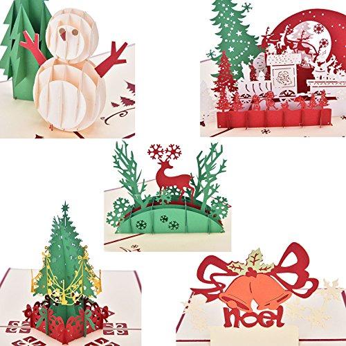 ck Weihnachts-Karten, Set mit 3D-Pop-Up-Grußkarten für Weihnachten, Festival, Geburtstag, zum Dank, Jahrestag und mehr, inkl. Weihnachtsbaum, Schneemann, Rentier, Glocke 5 Pack Assorted Christmas Cards (Valentine Karten Für Kinder)