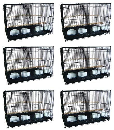l Sechs kleine Vögel Zucht Käfige mit Trennwand in schwarz ()
