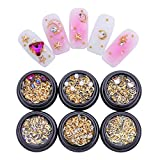 Born Pretty 6 Boxes Nail Art Metal Nail Studs Rhinestone Pearl Gold Moon Star Metal Colorful Clear DIY 3D Decoration