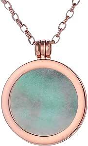 Morella Collana Donna 70 cm Acciaio Inossidabile Oro Rosa con Coins Moneta amuleto Ciondolo Chakra Rotondo 33 mm Gemma Pietra preziosa in Sacchetto di Velluto