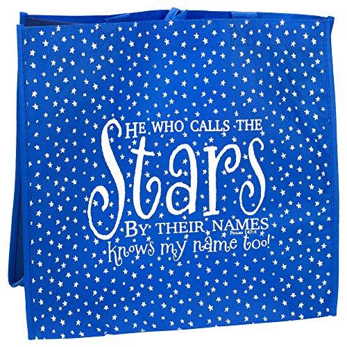 Er ruft die Sterne die von Ihre Namen 30,5x 30,5cm wiederverwendbar Umweltfreundlich Tasche 2 Packung blau/weiß