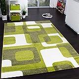 Paco Home Designer Teppich Trendiger Retro Teppich Kurzflor Webteppich in Grün Grau Creme, Grösse:70x140 cm