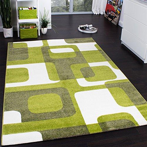 Designer Rug   Woven   Trendy Retro Style   Green Grey Cream, Size:160x220  Cm