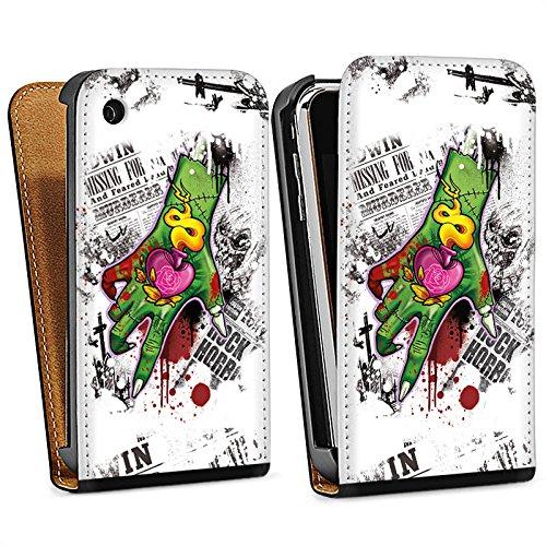 Apple iPhone 5s Housse Étui Protection Coque Tatouage Zombie Zombie Sac Downflip noir