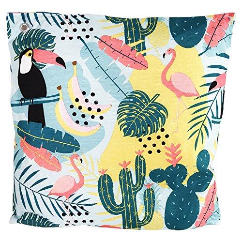 Mojawo Outdoor Zierkissen Dekokissen Sofakissen Kissen 100{7ccbacd4805995799a6faed89d9e95bd5930a6654089d8d369f7c708a65d94c2} Polyester Wasserabweisend Kaktus Tropical Motiv 45x45cm