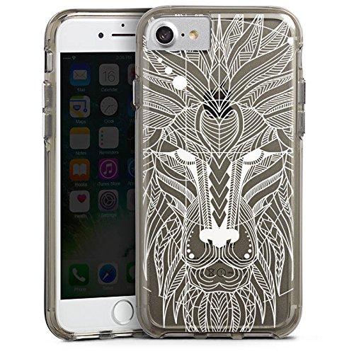 Apple iPhone X Bumper Hülle Bumper Case Glitzer Hülle Muster ohne Hintergrund Mandala Lion Bumper Case transparent grau