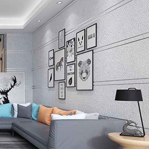 Hintergrund Papier Marmor, (Moderne Minimalistische Samt Marmor Gestreifte Tapete Vlies Wohnzimmer Tv Hintergrund Wand Papier Schlafzimmer 3D,Silber grau,5,3 Quadratmeter pro Rolle)