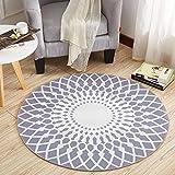 KK&MM Stilvoller schwarzer und weißer runder Wohnzimmer-Couchtisch-großer Teppich (Größe: 160CM), B, 160cm
