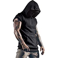 Cabeen Men's Workout Tank Tops Sports Hooded Vest Sleeveless T- Shirt Muscle Bodybuilding Gym Fitness Hoodie Sweatshirts…