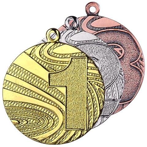 10 Stück Medaillenset Gold / Silber / Bronze Stahl 40mm