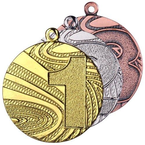 10 Stück Medaillenset Gold / Silber / Bronze aus Stahl, 40mm Durchmesser und 2 mm Höhe. Schwere Ausführung in guter Qualität. Passend dazu finden Sie in unserem Shop verschiedenfarbige Bänder zur Selbstmontage. -