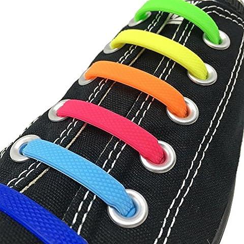 Joyshare No Tie Lacets pour les enfants et adultes, imperméables Silicon Flat élastiques Lacets de sport course de chaussures pour Shoes Sneaker Conseil Bottes et Souliers (Mix