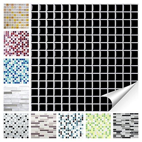 Wandora 1 Set Fliesenaufkleber 25,3 x 25,3 cm schwarz Design 26 I 3D Mosaik Fliesenfolie Küche Bad Aufkleber W1536