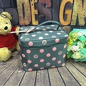 Gray : Alsomtec Cute Fashionable Cherry Polka Dot Makeup Bag Single Layer Foldable Makeup bags big size Portable cosmetic bag (Gray)