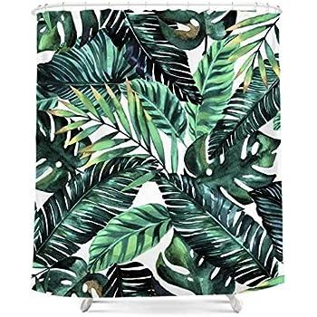Verde foglie di palma tropicale tenda da doccia personalizzata stampa digitale poliestere tessuto tenda doccia 183cm x 183cm, verde e bianco