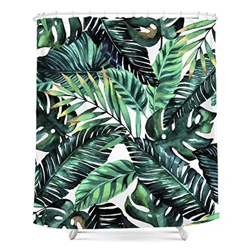 Grün Tropical Palm Leaves Duschvorhang Custom Digital Print Polyester Stoff Duschvorhang 183cm x 183 cm, grün und weiß