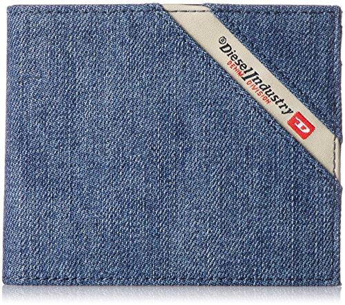 Diesel portafoglio uomo, denimline, hiresh s, (11,5x9,5x1cm), portafoglio - denim