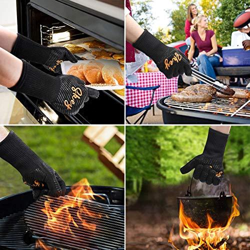 612dLkc0DFL - SKEY Grillhandschuhe Ofenhandschuhe Grill Handschuhe zubehör Hitzebeständige bis zu 800 ° C Universalgröße Kochhandschuhe Backhandschuhe für BBQ Kochen Backen und Schweißen-Klassisch Schwarz