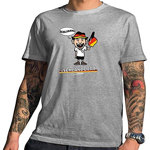 HARIZ  Pixbros Collection Herren T-Shirt Grau Designs Wählbar Deutschland Trikot WM EM Fahne Inkl Urkunde Bang Sticks Pixbros07: Schlandbert XXL
