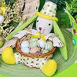 Valery Madelyn Puppe Bambuskorb 17cm Frühling Ostern Deko Hase Aufbewahrungskörbe Korb Tischdeko Baumwolle Häschen Puppe mit kleinem runden Korb für Ostereier Süßigkeiten Ornamente perfekte Geschenkidee