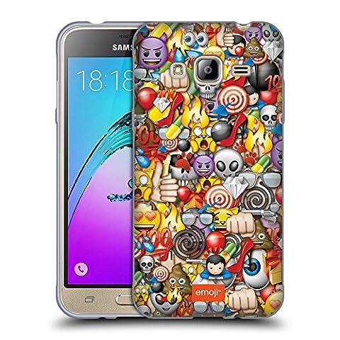 Officiel Emoji Assorti Modèles Pleins Étui Coque en Gel molle pour Samsung Galaxy J3