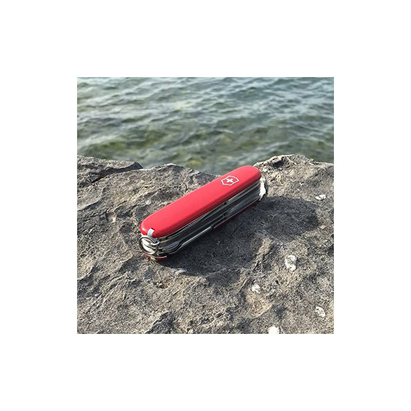 Victorinox Deluxe Tinker Swiss Army Pocket Knife, Medium, Multi Tool, 17 Functions, Screwdriver, Scissors, Red