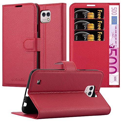 Cadorabo Hülle für LG X CAM - Hülle in Karmin ROT – Handyhülle mit Kartenfach und Standfunktion - Case Cover Schutzhülle Etui Tasche Book Klapp Style