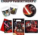 safta Star Wars - Partyset, 49-Teilig; Becher, Teller, Servietten, Partytüten, Einladungen, Girlande