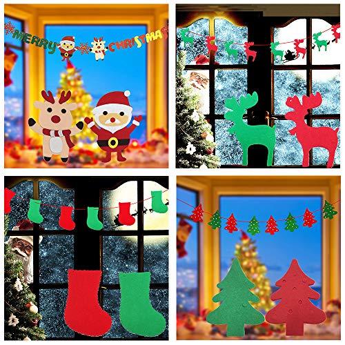 (Yuede Weihnachten Hängen Bunting Banner Girlanden Wimpel Stoff Filz DIY Urlaub Party Weihnachten Flagge Dekor Wanddekorationen (4 stücke Weihnachten Banner))