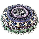 letter,Almohadas de piso de mandala, cubierta de cojín redondo de meditación de Bohemia (E)