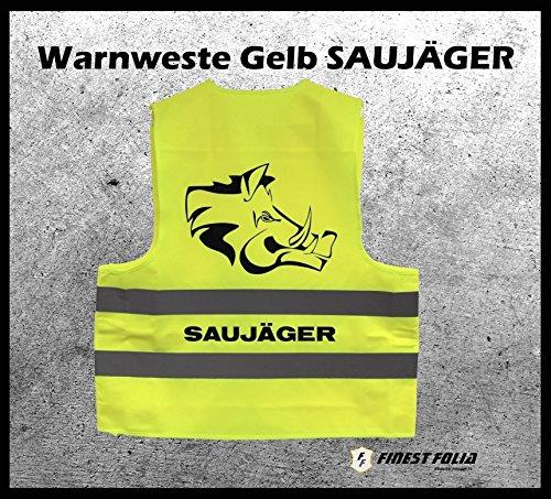 """Warnweste Gelb """"SAUJÄGER"""" Jagt, Treibjagt, Forstbetrieb von Finest-Folia"""